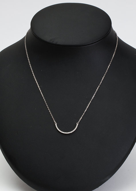 14K White Diamond Half Moon Necklace