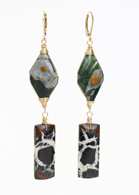 Ocean Jasper and Septarian Drop Earrings