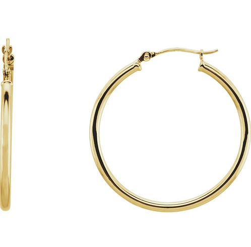 14K Yellow 30 mm Tube Hoop Earrings