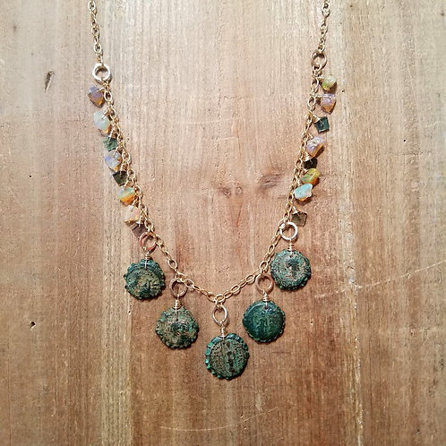 Ancient Greek Coin with Opal & Tourmaline Chip Necklace