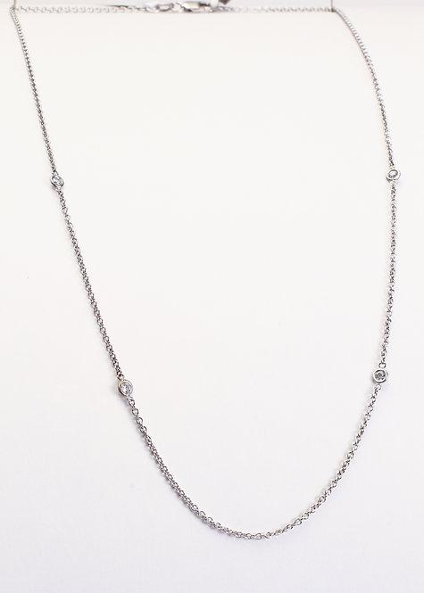 14K White Gold 4 Bezel Set Diamond Necklace