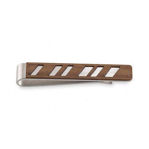 Wooden Diagonal Lines Tie Clip