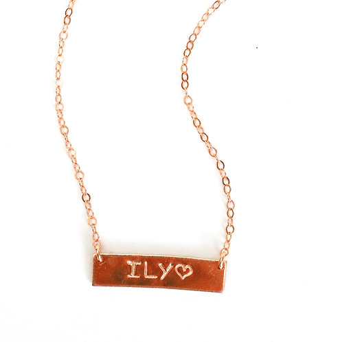 Personalized 14K Rose Gold Filled Bar Necklace