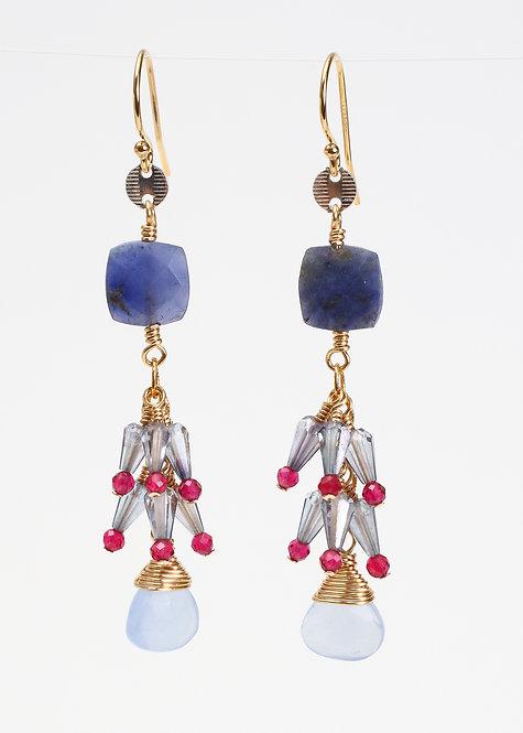 Dangle Earrings with Lapis, Blue Chalcedony, Blue Quartz & Rhodolite Garnet