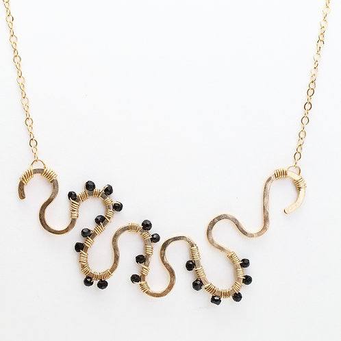 Squiggle Pendant Necklace with Black Spinel