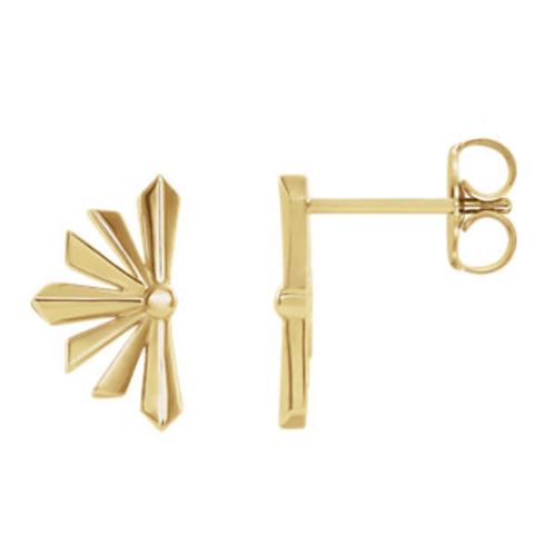 14K Yellow Gold Starburst Earrings