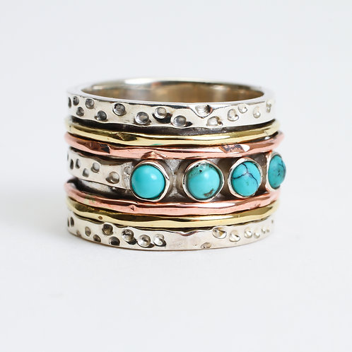 Turquoise Drop Spinner Ring