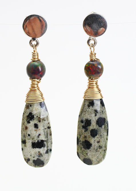 Dot Stud Earrings with Black Opals and Dalmation Jasper