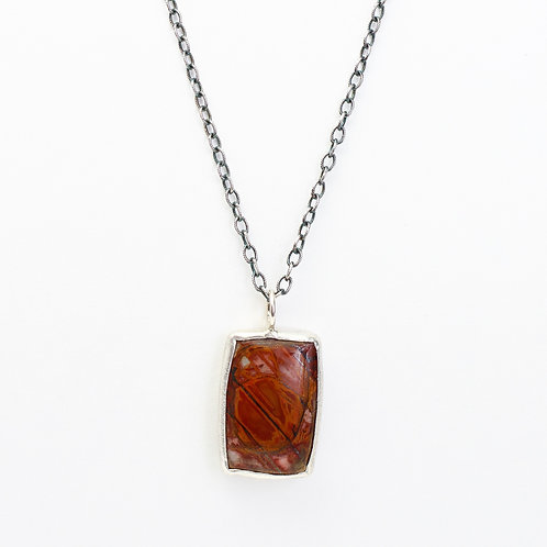 Red Creek Jasper Pendant with Oak Leaf Cut-out and Oxidized Chain