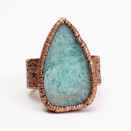 Copper Electroformed Amazonite Ring