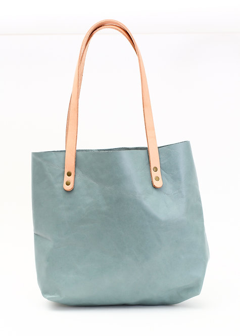 Short Blue Leather Tote