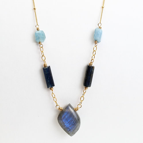 Labradorite, Kyanite Tubes, and Aquamarine Necklace