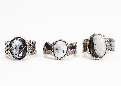 Silver Plated White Buffalo Turquoise Ring