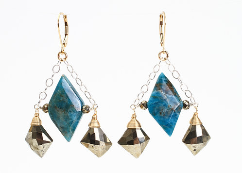 Swing Earrings with Pyrite & Blue Apatite