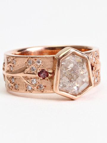 Sheild Natural Diamond Engagment Ring