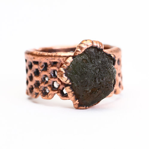 Copper Electroformed Moldavite Ring