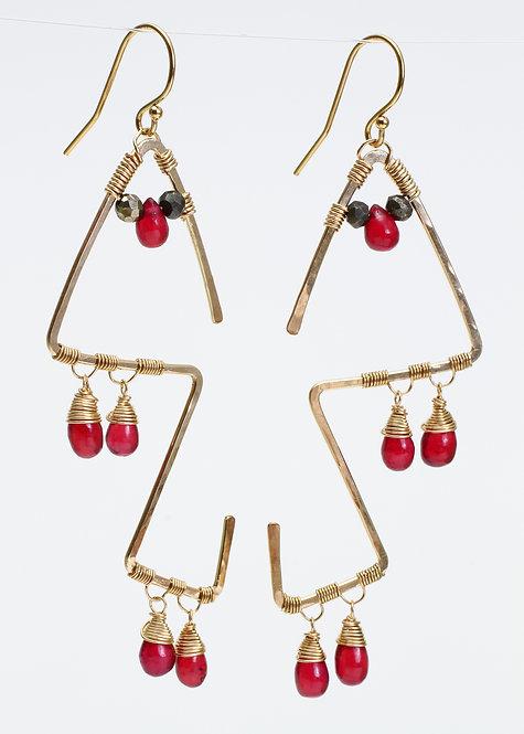 Funky Shape Earrings w/ Ruby & Pyrite
