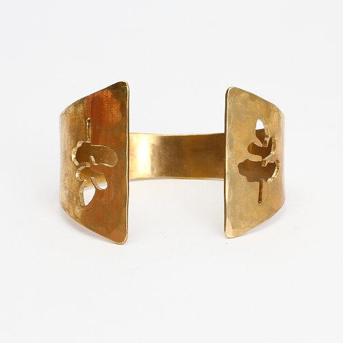 Brass Hand Sawn Fern Cuff