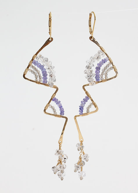 Zig Zag Earrings w/ Herkimer Diamonds, Tanzanite, & Labradorite