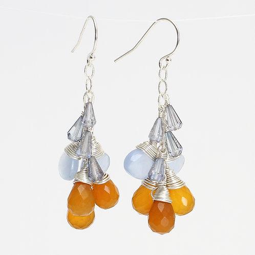 Earrings w/ Orange Chalcedony, Blue Chalcedony, & Blue Quartz