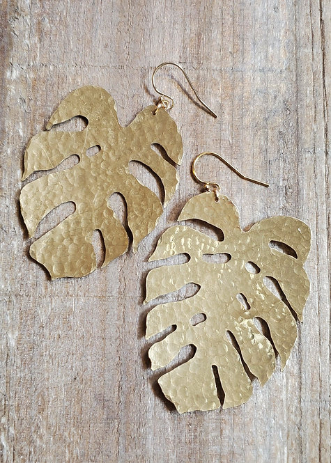 Hand Sawn and Textured Brass Monstera Leaf Earrings