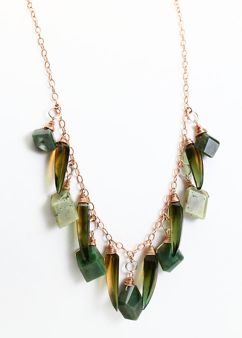 Natural Faceted Turquoise and Olive Quartz Necklace