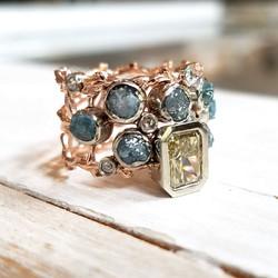 Yellow & Blue Diamond Ring