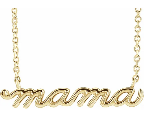 14K Yellow Gold Mama Script Necklace
