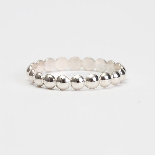 Sterling Silver Beaded Half Round Stack Ring