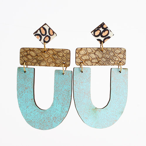 Abby Earrings - Taupe Snakeskin Patina