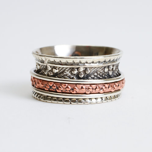 Sterling Silver & Copper Spinner Ring