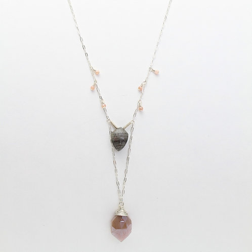 Lariat Necklace with Feldspar and Pink Moonstone