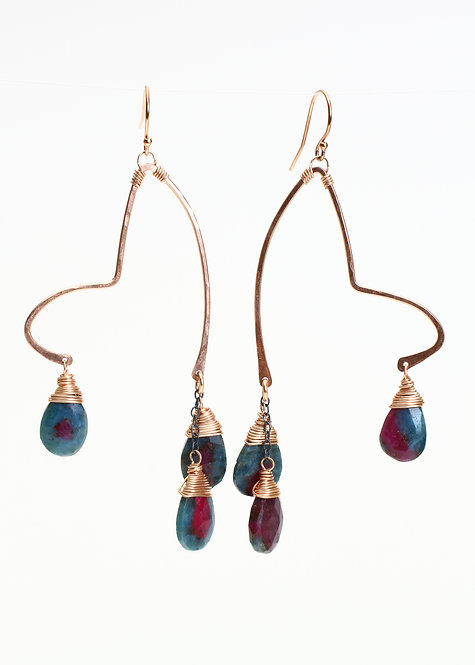 Funky Earrings with Ruby Zoisite