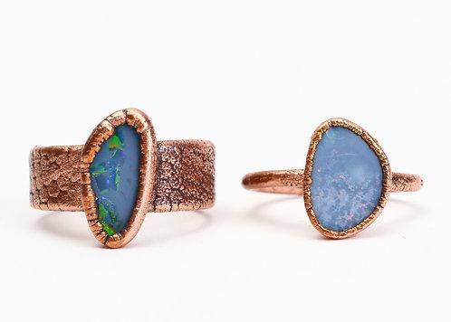 Copper Electroformed Opal Ring