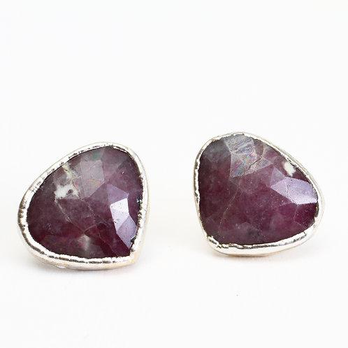 Fine Silver Plated Purple Sapphire Stud Earrings