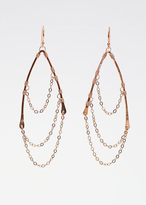 14K Rose Gold Filled Chain Wing Earrings