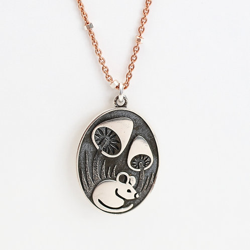Mouse and Mushroom Charm Necklace