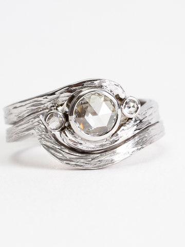 Rose Cut Diamond Wedding Ring Set