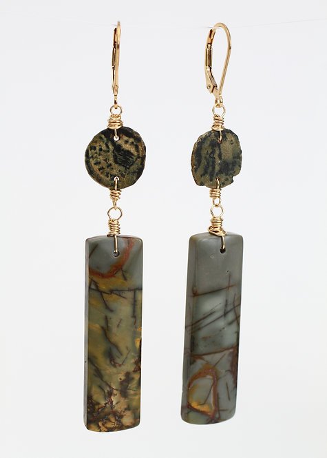Coin and Red Creek Jasper Drop Earrings