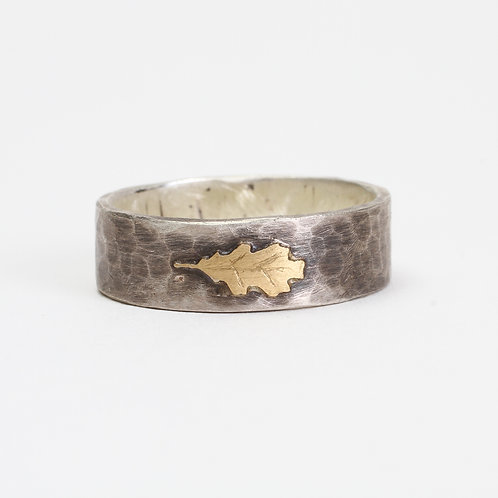 Silver & Brass Oak Leaf Ring