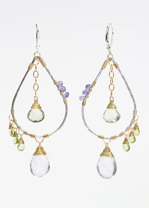 Scorzalite, Green Amethyst, Peridot & Tanzanite Earrings