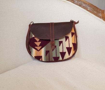 "Rosa - Brown ""Arrow"" Leather Cross Body Bag"