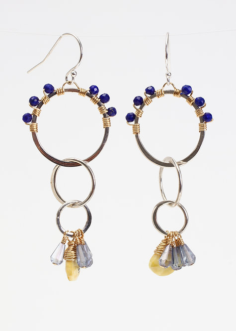 Multi Circle Drop Earrings with Mystic Prehinite, Lapis & Blue Quartz