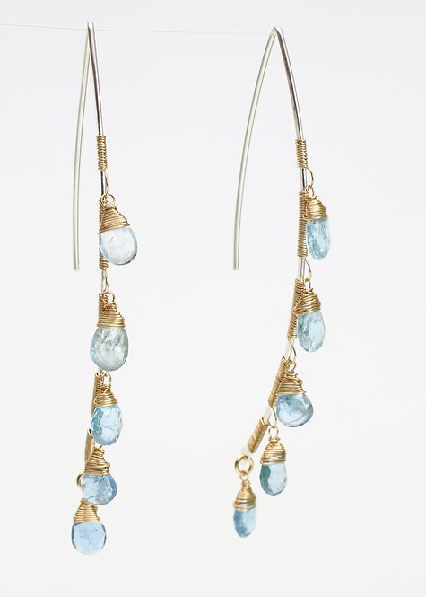 Curved Bar Threader Earrings with Aquamarine
