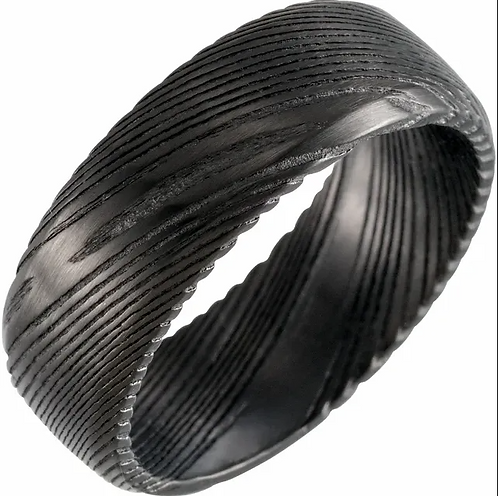 Black Damascus Steel 8 mm Patterned Band