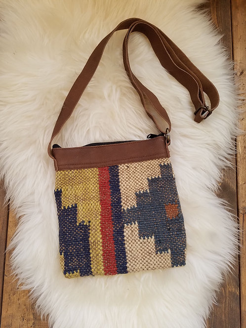 """Small Jute Cross Body Woven Bag with Leather Trim & Straps  Size: 8"""" x 8"""""""