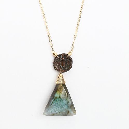 Coin and Labradorite Necklace