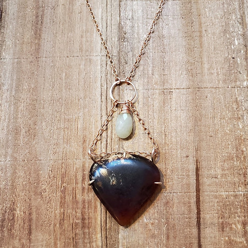 Indonesian Amber & Aquamarine Necklace