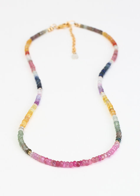 Full Strand Multicolored Sapphire Necklace with Gold Accent Beads