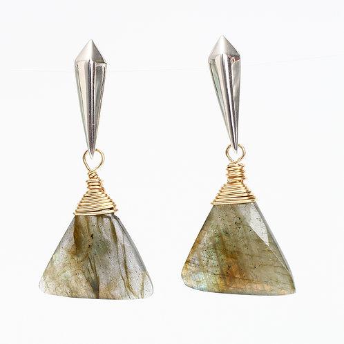 Triangle Labradorite Stud Earrings